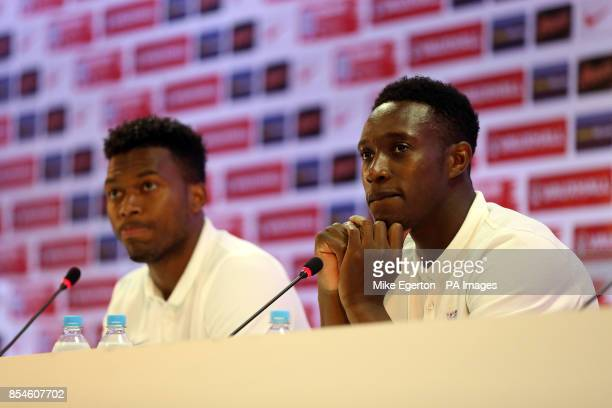 England's Daniel Sturridge and Danny Welbeck during a press conference at the Urca Military Training Ground Rio de Janeiro Brazil