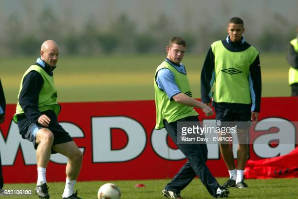 England's Danny Mills and Wayne Rooney during a training session