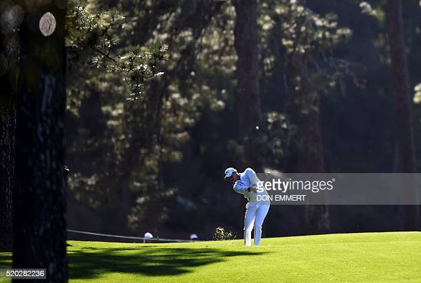 England's Danny Willett plays a shot during Round 4 of the 80th Masters Golf Tournament at the Augusta National Golf Club on April 10 in Augusta...