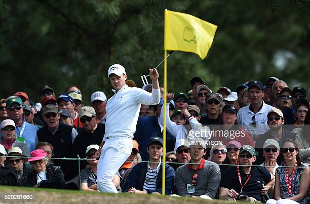 England's Danny Willett reacts after playing a shot on the 10th hole during Round 4 of the 80th Masters Golf Tournament at the Augusta National Golf...