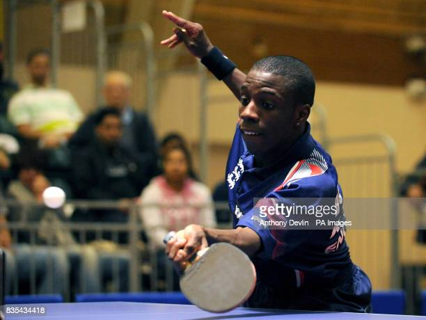 England's Darius Knight in action during India's Table Tennis Tour at Dormers Wells Leisure Centre in Southall London