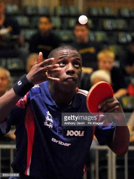 England's Darius Knight serves during India's Table Tennis Tour at Dormers Wells Leisure Centre in Southall London