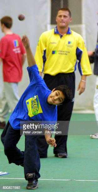 England's Darren Gough coaching at the Middlesex County Final of the Norwich Union Inter Cricket Indoor Tournament at Lord's Cricket Ground London