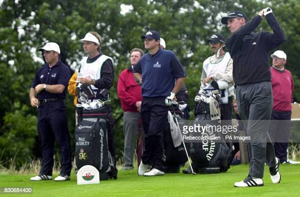 England's Darren Lee tees off the 12th hole to begin a three way sudden death play off with Paul McGinley and Paul Lawrie for the Welsh Open Trophy...