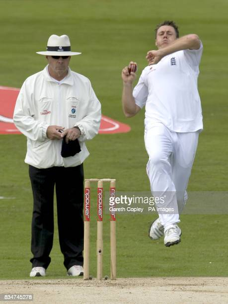 England's Darren Pattinson bowls during the Second npower Test match at Headingley Cricket Ground Leeds