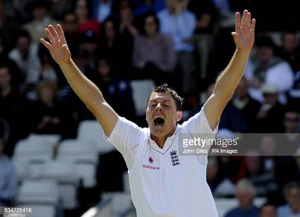 England's Darren Pattinson celebrates dismissing South Africa's Hashim Amla for 38 runs during the Second npower Test match at Headingley Cricket...