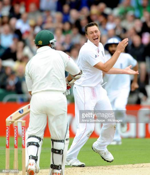 England's Darren Pattinson celebrates taking the wicket of South Africa's Ashwell Prince for 149 runs during the Second npower Test match at...