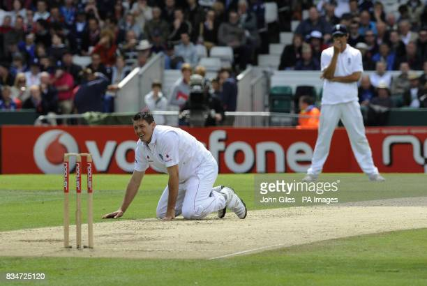 England's Darren Pattinson looks at the wicket during the Second npower Test match at Headingley Cricket Ground Leeds