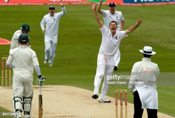 England's Darren Pattinson successfully appeals for the wicket of South Africa's Aswell Prince during the Second npower Test match at Headingley...