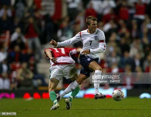 England's David Beckham and Hungary's Sszabolcs Huszti
