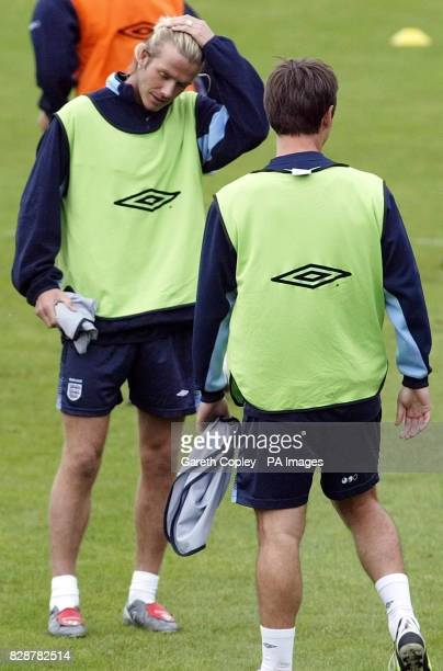 England's David Beckham during training at The Cliff training ground Manchester prior to tomorrow's Euro 2004 Championship qualifier against...