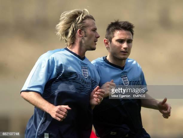 England's David Beckham trains with Frank Lampard