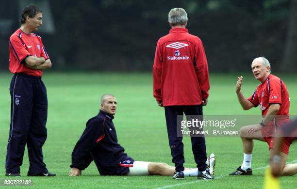 England's David Beckham warms up under the supervision of Sven Gorran Eriksen and Phsyio Alan Smith At England's training session at Bisham Abbey...