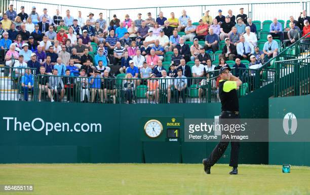England's David Howell tees of the first during day one of the 2014 Open Championship at Royal Liverpool Golf Club Hoylake