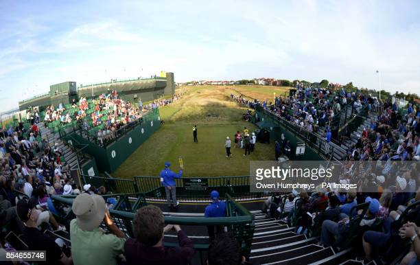 England's David Howell tees off the first to start day one of the 2014 Open Championship at Royal Liverpool Golf Club Hoylake