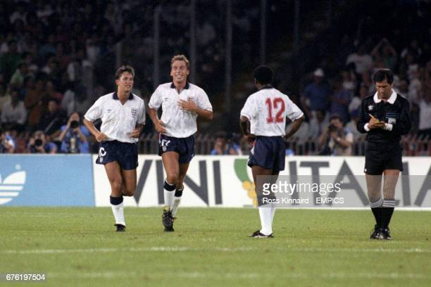 England's David Platt is all smiles after giving England the lead Gary Lineker and Paul Parker join in the celebrations as Referee Edgardo Codesal...