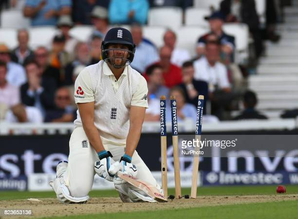England's Dawid Malan gets bowled out by Kagiso Rabada of South Africa during the International Test Match Series Day One match between England and...