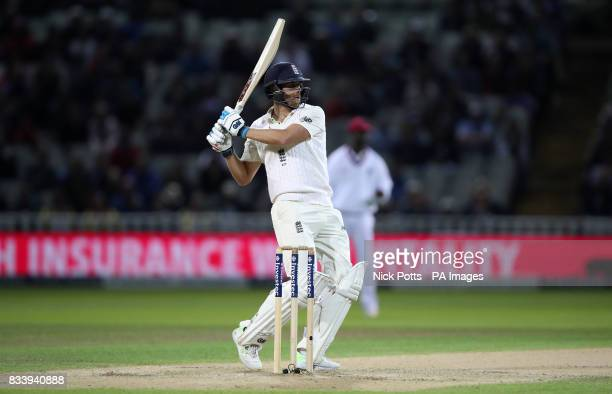 England's Dawid Malan hooks for 4 during day one of the First Investec Test match at Edgbaston Birmingham