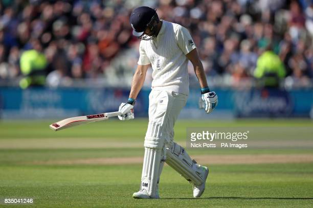 England's Dawid Malan walks off after being dismissed for 65 during day two of the First Investec Test match at Edgbaston Birmingham