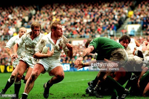 England's Dean Richards charges at Ireland's Phil Matthews