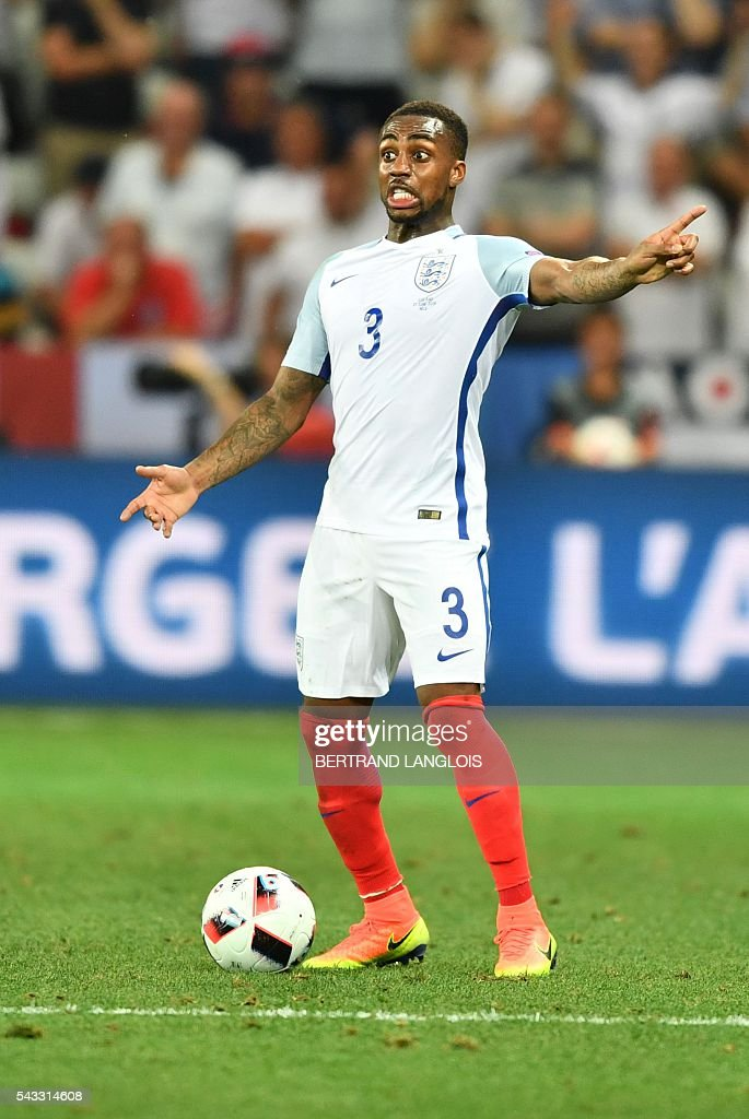 England's defender Danny Rose reacts during the Euro 2016 round of 16 football match between England and Iceland at the Allianz Riviera stadium in Nice on June 27, 2016. / AFP / BERTRAND