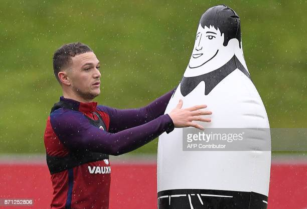 England's defender Kieran Trippier attends a training session at St George's Park in BurtononTrent on November 7 ahead of their friendly...