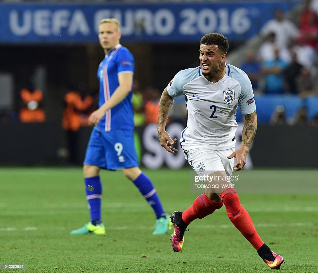 England's defender Kyle Walker reacts during Euro 2016 round of 16 football match between England and Iceland at the Allianz Riviera stadium in Nice on June 27, 2016. / AFP / TOBIAS