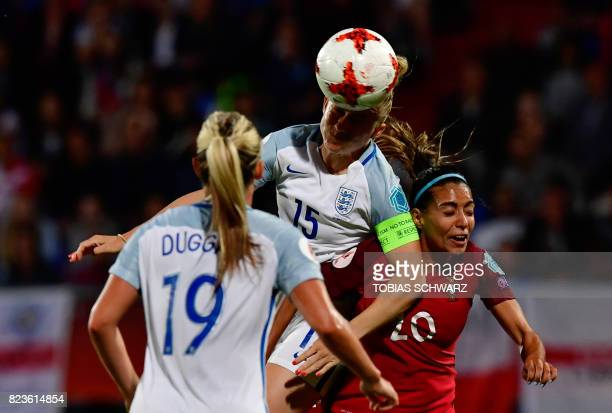 England's defender Laura Bassett heads the ball next to Portugal's forward Suzane Pires during the UEFA Women's Euro 2017 football match between...