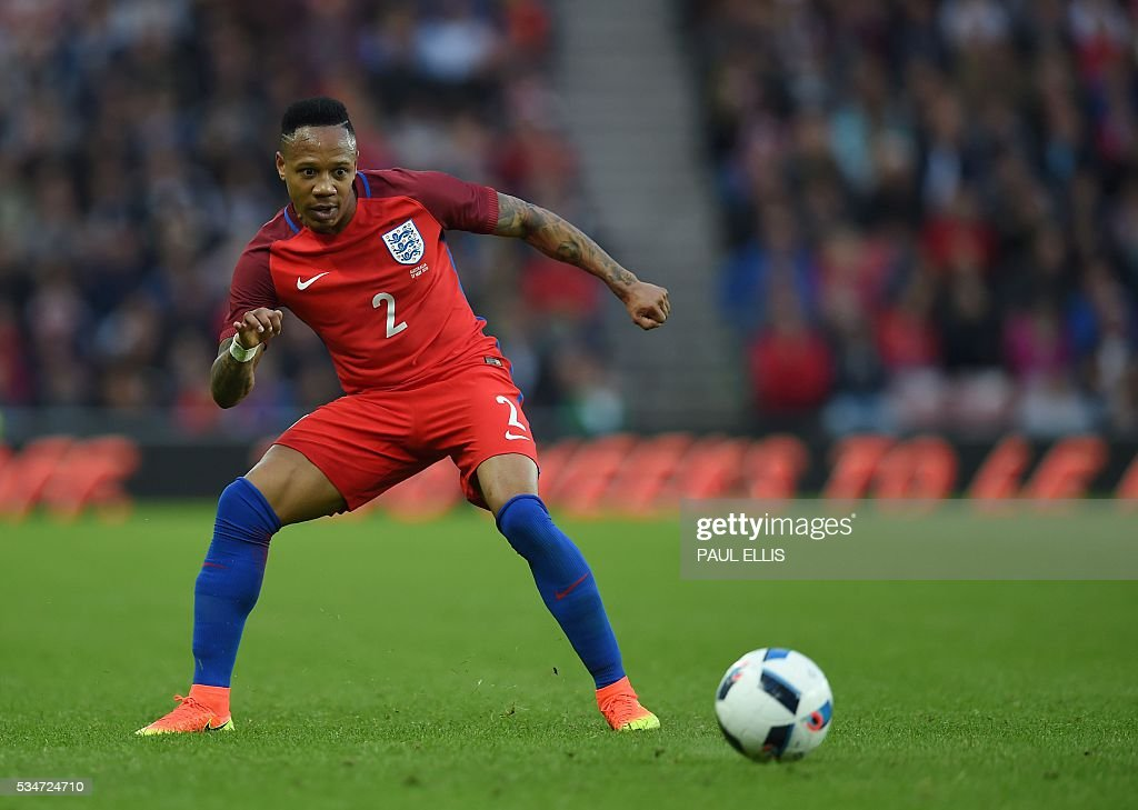 England's defender Nathaniel Clyne in action during the friendly football match between England and Australia at the Stadium of Light in Sunderland, north east England, on May 27, 2016. / AFP / PAUL
