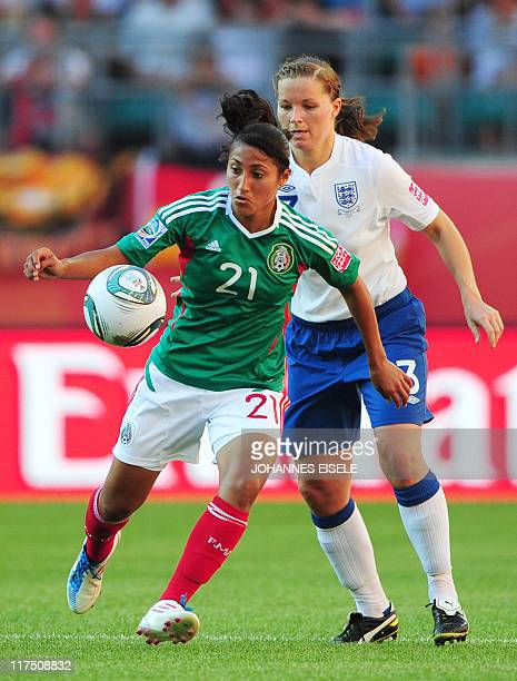England's defender Rachel Unitt vies with Mexico's forward Stephany Mayor during the Mexico vs England match of the FIFA women's football World Cup...