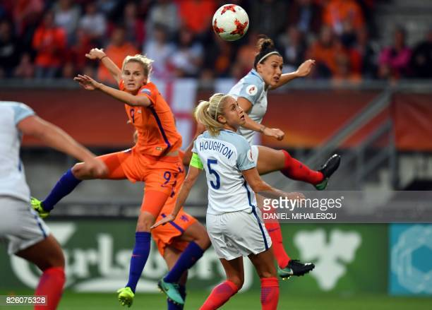 England's defender Steph Houghton reacts as Netherlands' forward Vivianne Miedema heads the ball and scores a goal during the UEFA Womens Euro 2017...