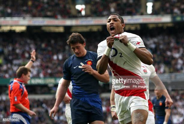 England's Delon Armitage celebrates scoring England's third try during the RBS 6 Nations match at Twickenham London
