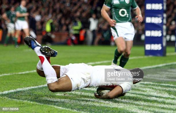 England's Delon Armitage scores a try during the RBS 6 Nations match at Croke Park Dublin Ireland