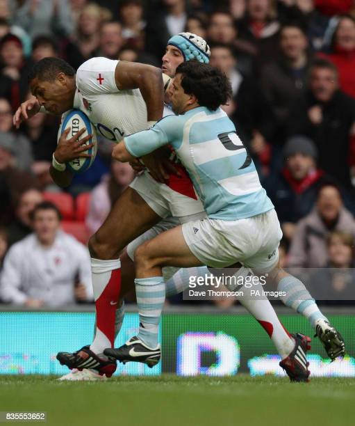 England's Delon Armitage scores against Argentina during The Standard Bank Cup match at Old Trafford Manchester
