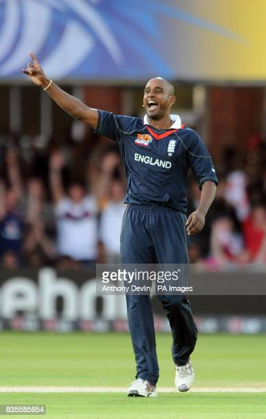 England's Dimitri Mascarenhas celebrates taking the wicket of India's Gautam Gambhir during the ICC World Twenty20 Super Eights match at Lord's London