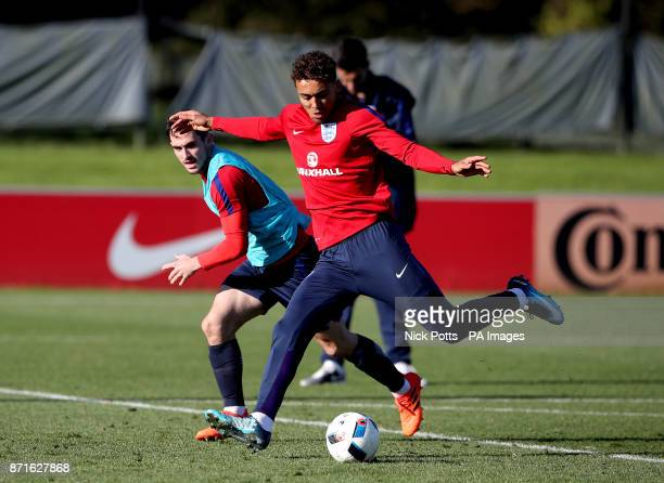 England's Dominic CalvertLewin and Lewis Cook during the training session at St George's Park Burton