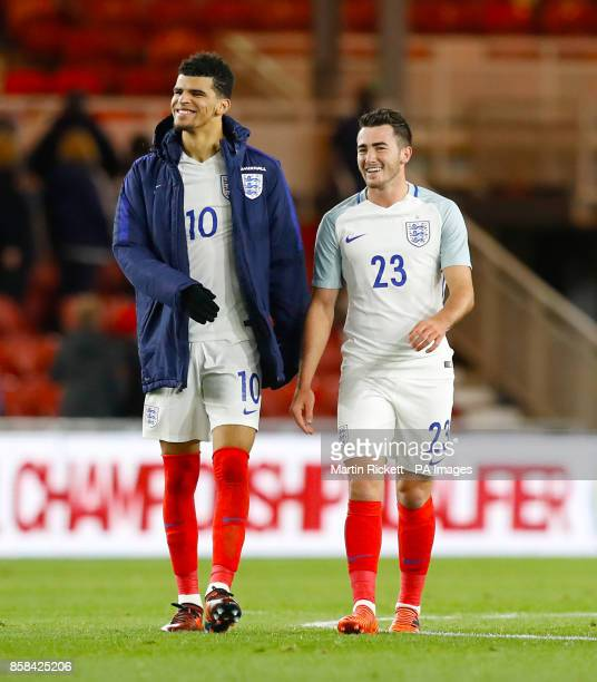 England's Dominic Solanke and Jack Harrison celebrate after the final whistle of the 2019 UEFA Euro U21 Qualifying Group 4 match at the Riverside...
