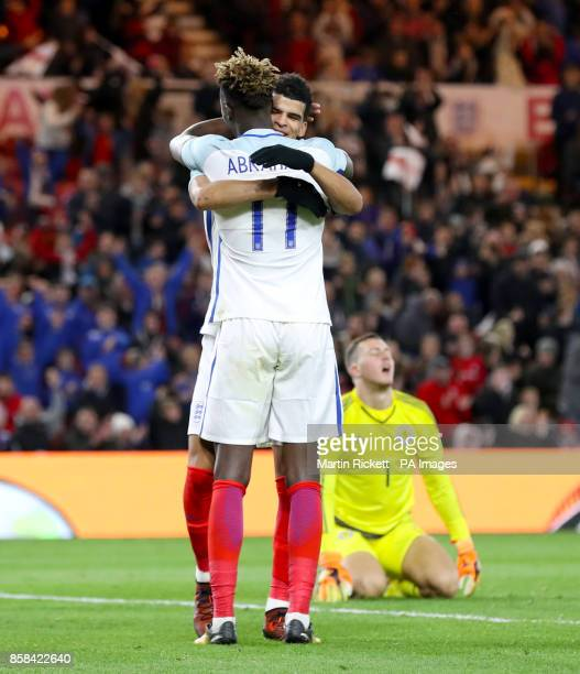 England's Dominic Solanke celebrates scoring his side's third goal of the game with team mate Tammy Abraham during the 2019 UEFA Euro U21 Qualifying...