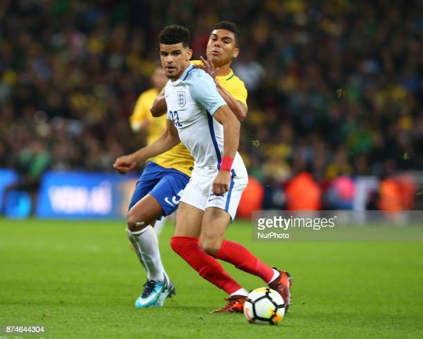England's Dominic Solanke during International Friendly match between England and Brazil at Wembley stadium London on 14 Nov 2017