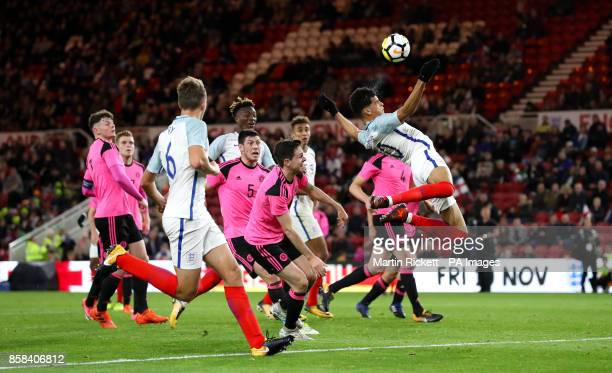 England's Dominic Solanke makes an attempt on goal during the 2019 UEFA Euro U21 Qualifying Group 4 match at the Riverside Stadium Middlesbrough