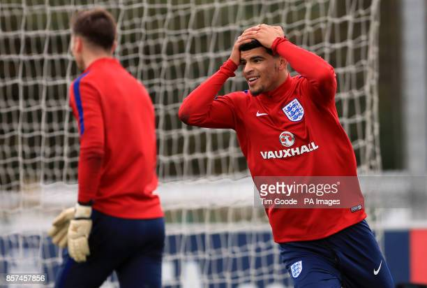 England's Dominic Solanke reacts during the training session at St George's Park Burton