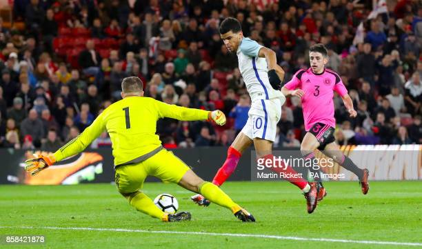 England's Dominic Solanke scores his side's third goal of the game during the 2019 UEFA Euro U21 Qualifying Group 4 match at the Riverside Stadium...