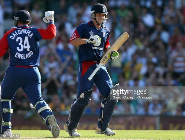 England's Ed Joyce celebrates his century with Jamie Dalrymple during the Commonwealth Bank Series at the Sydney Cricket Ground Sydney Australia