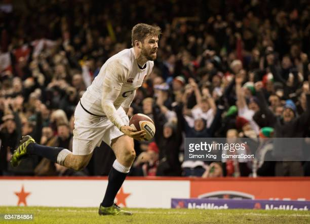 England's Elliot Daly celebrates scoring his sides second try during the RBS Six Nations Championship match between Wales and England at Principality...