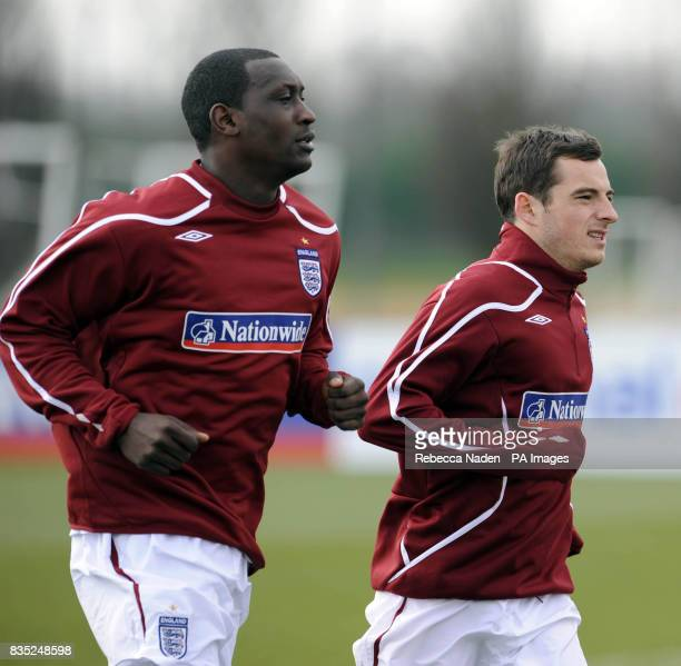 England's Emile Heskey and Leighton Baines during a training session at London Colney Hertfordshire