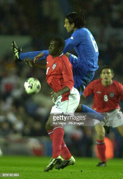 England's Emile Heskey challenges Alessandro Nesta of Italy for the ball during the International friendly match at Elland Road Leeds THIS PICTURE...