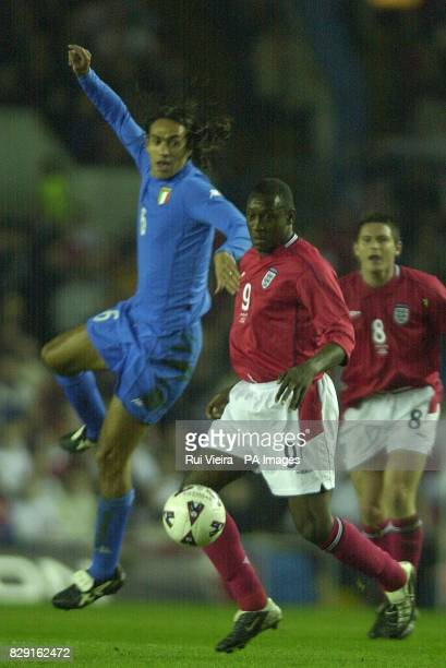 England's Emile Heskey challenges Italy's Alessandro Nesta for the ball during the International friendly match at Elland Road Leeds THIS PICTURE CAN...