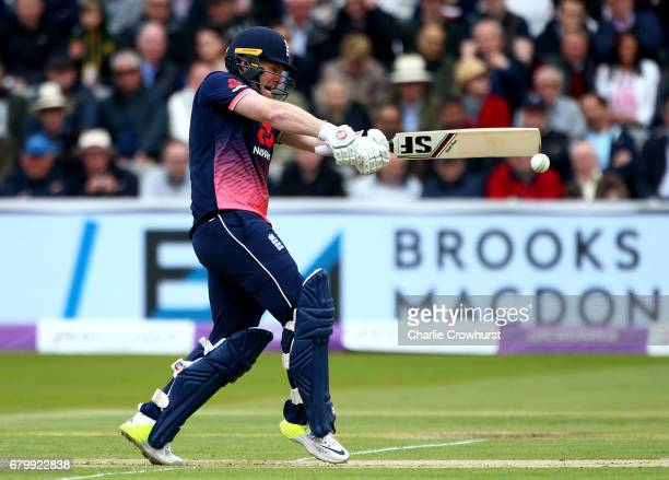 England's Eoin Morgan hits out during the Royal London ODI between England and Ireland at Lord's Cricket Ground on May 7 2017 in London England