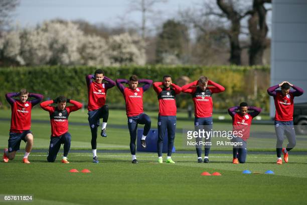 England's Eric Dier Ross Barkley Dele Alli Alex OxladeChamberlain Ryan Bertand Luke Shaw Nathaniel Clyne and Jake Livermore during the training...