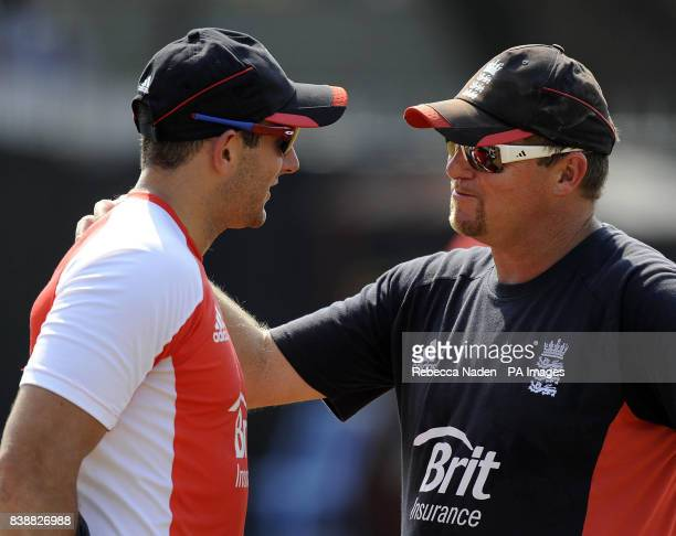 England's fast bowling coach David Saker with Tim Bresnan during a practice session at the Chidambaram Stadium Chennai India